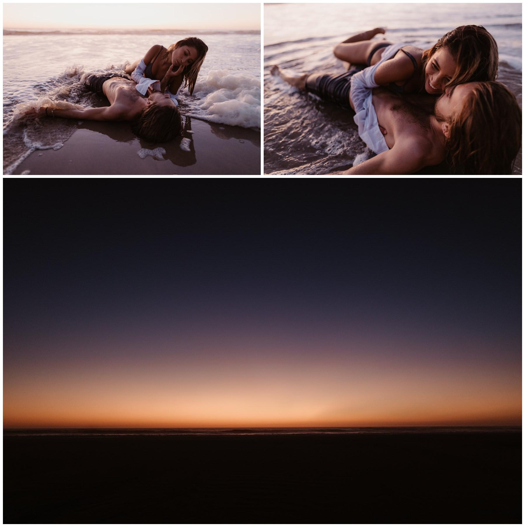 couple dans l'eau amoureux