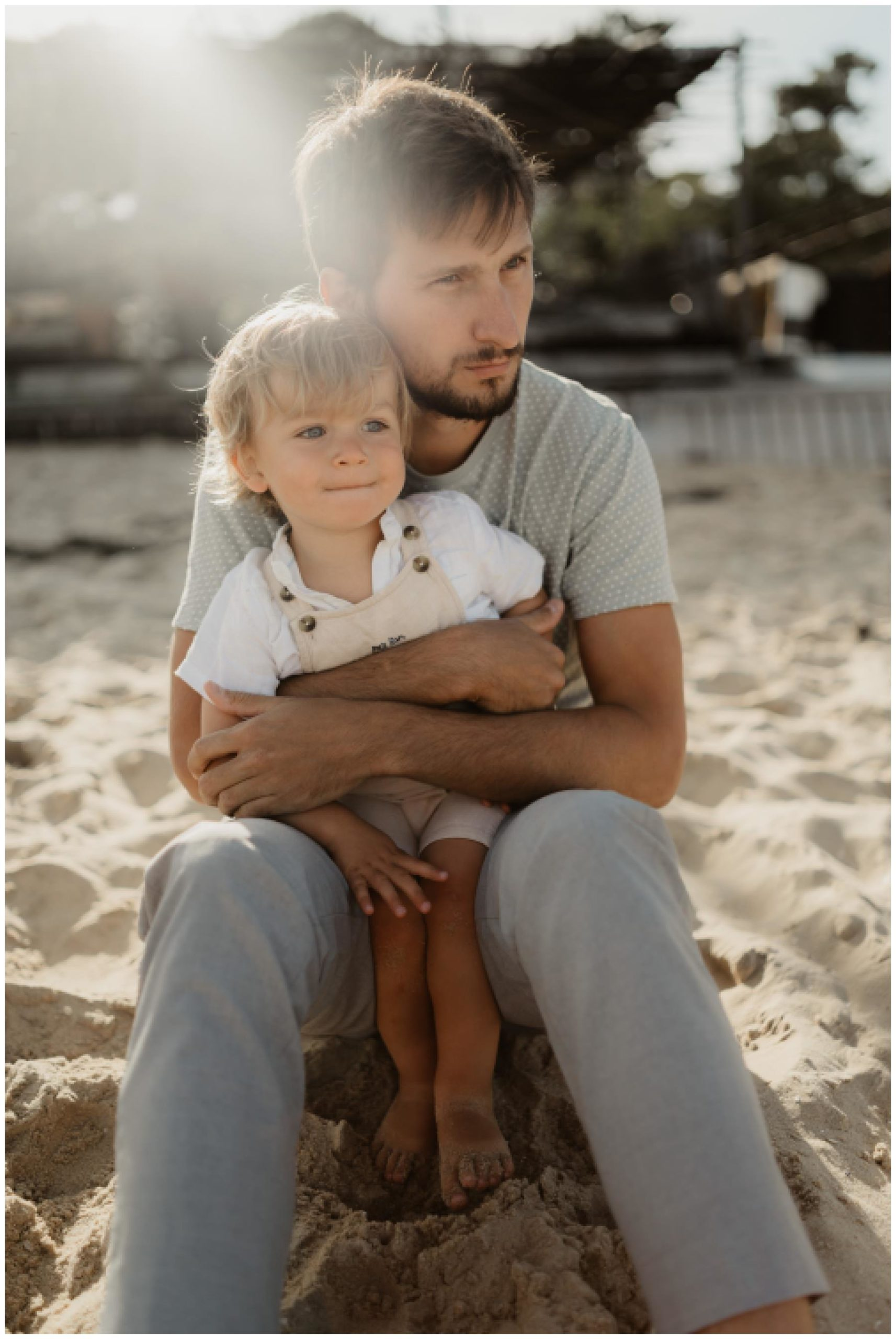 photo papa enfant plage